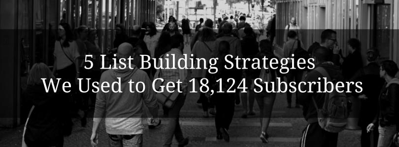 5 List Building Strategies We Used to Get 18,124 Subscribers