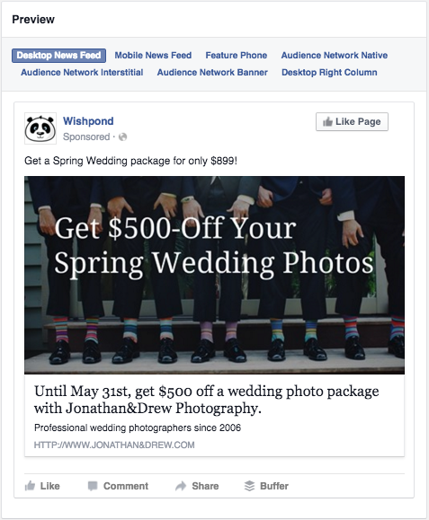 photographer facebook ad creative