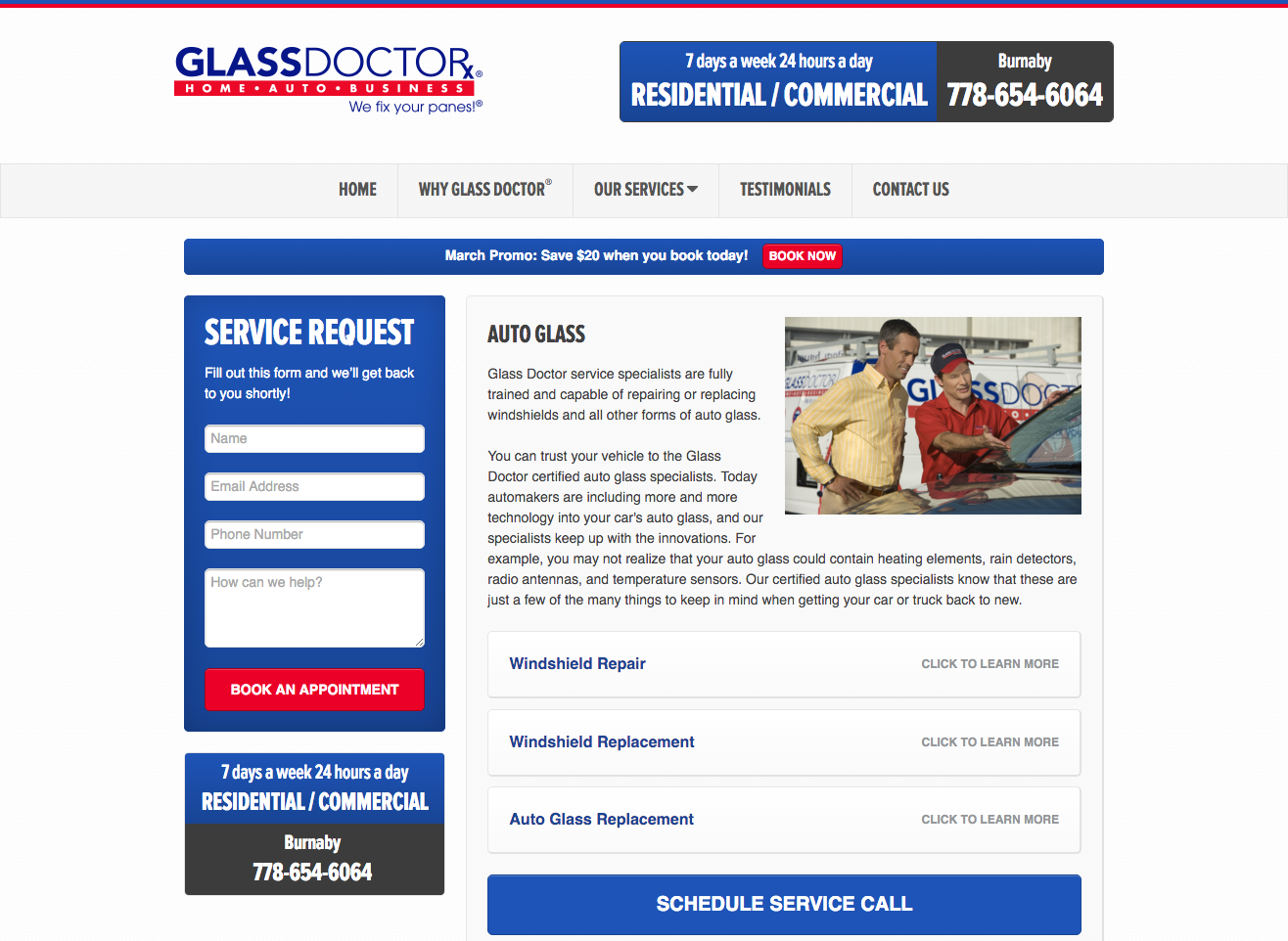 glass doctor landing page