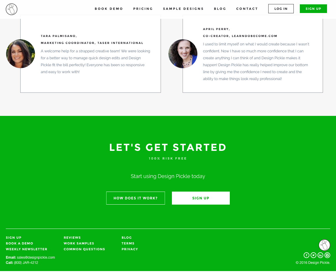 design pickle landing page