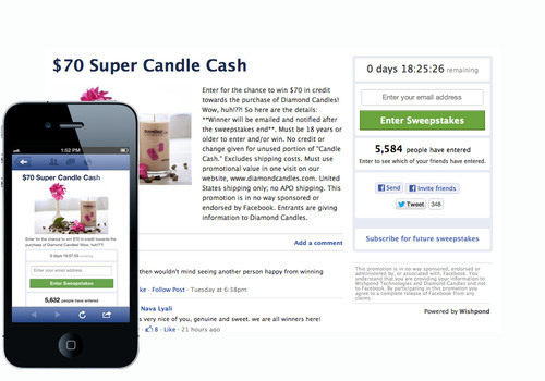 Exemplo de concurso do Facebook da Diamond Candles