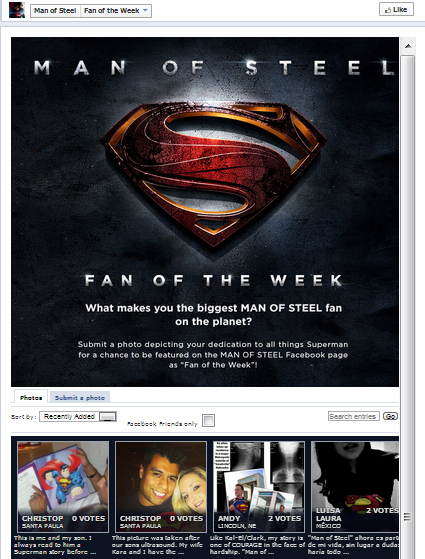 Exemplo de concurso no Facebook do Man of Steel