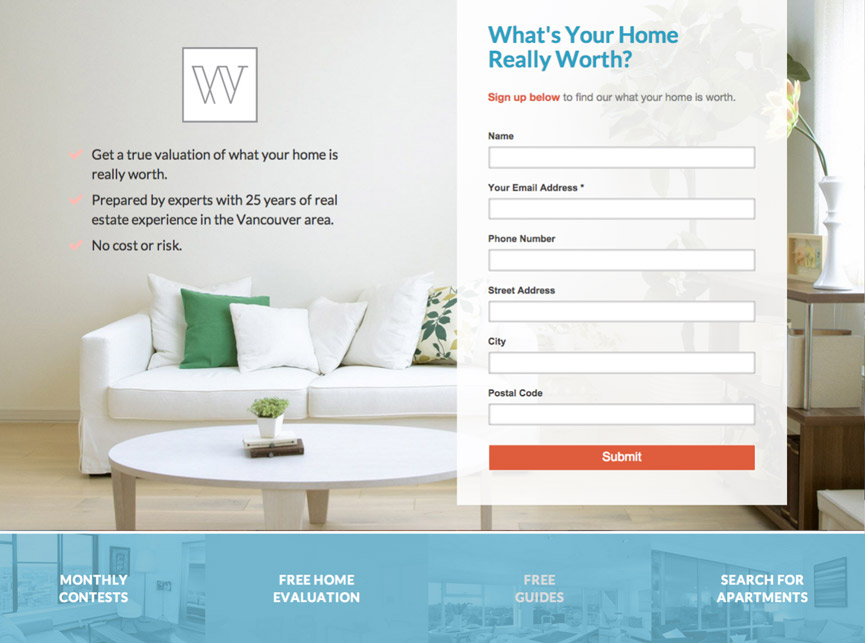 real estate landing page from compass