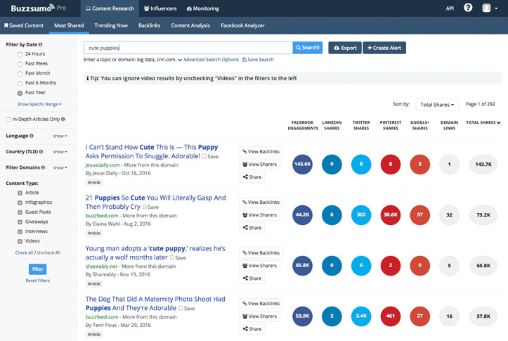 Buzzsumo content search