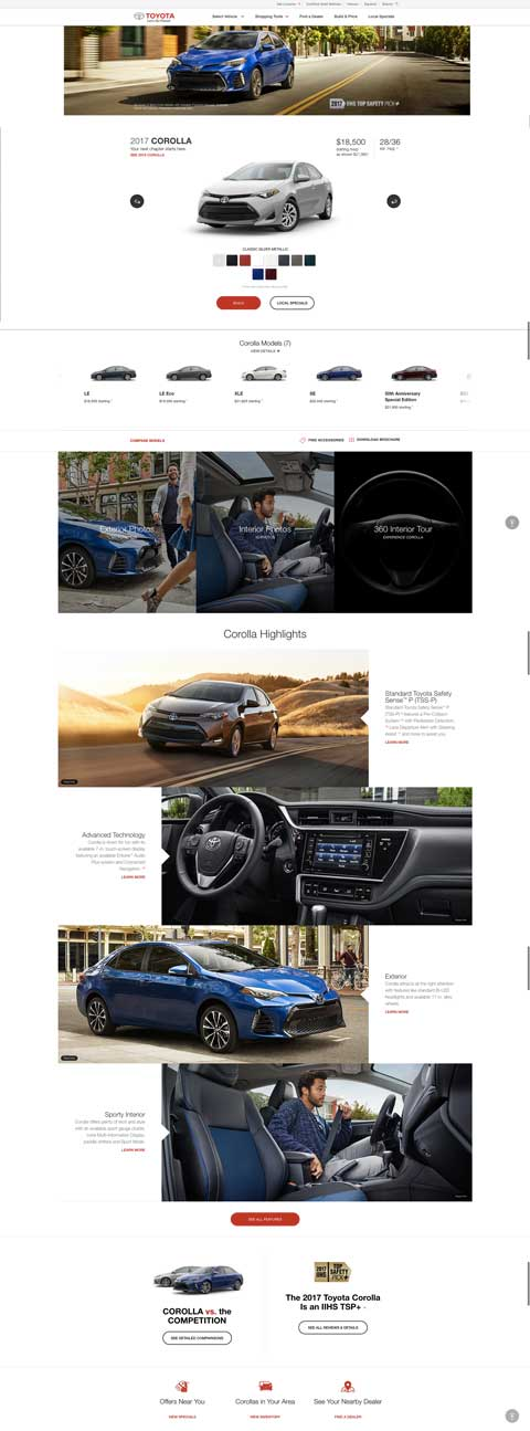 automotive landing pages