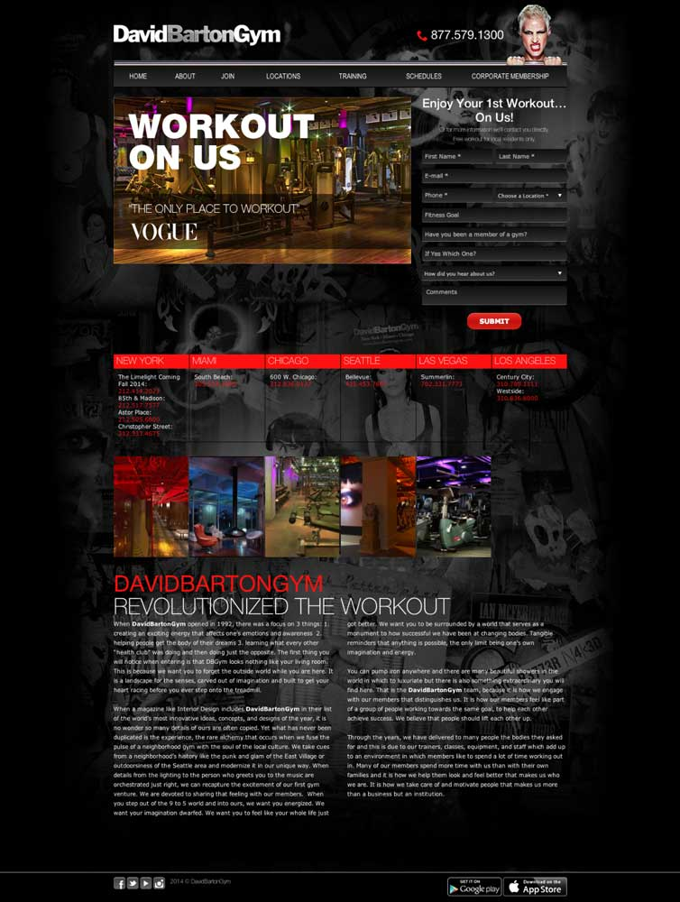 fitness landing page examples