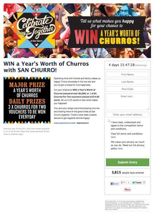 Exemplo de concurso no Facebook da San Churro