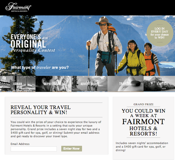 Exemplo de concurso no Facebook do Fairmont Hotels