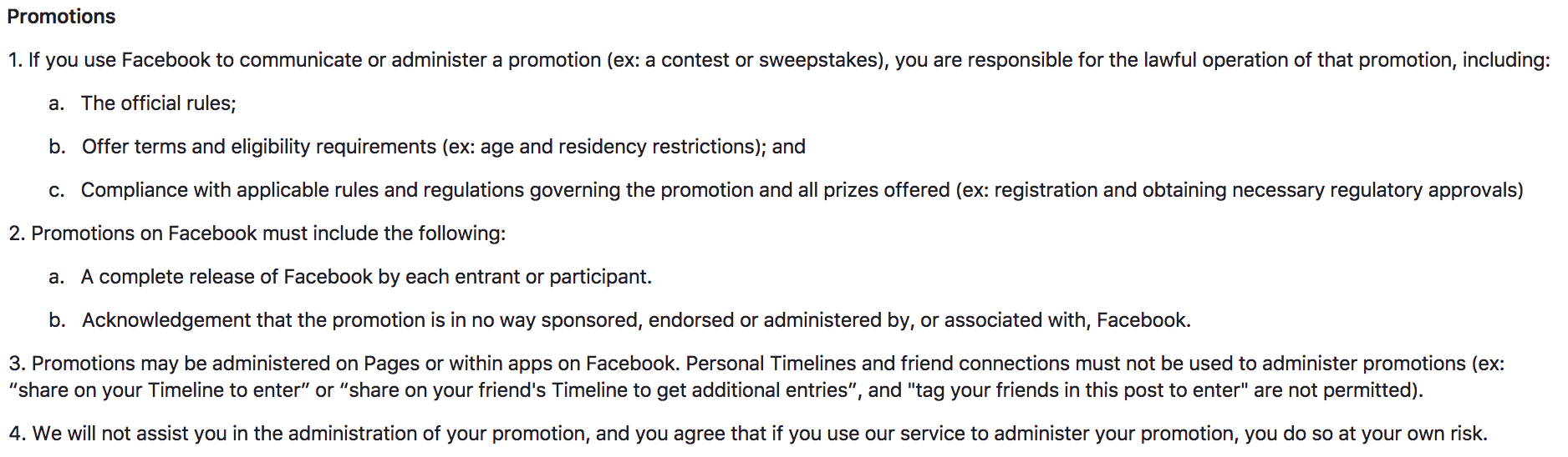 facebook raffle rules