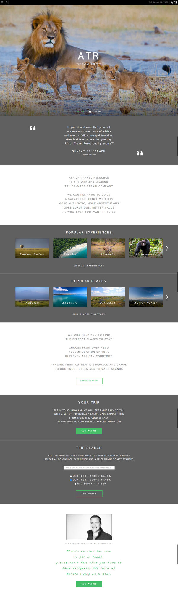tours and adventures landing page
