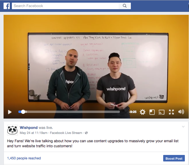facebook live video example